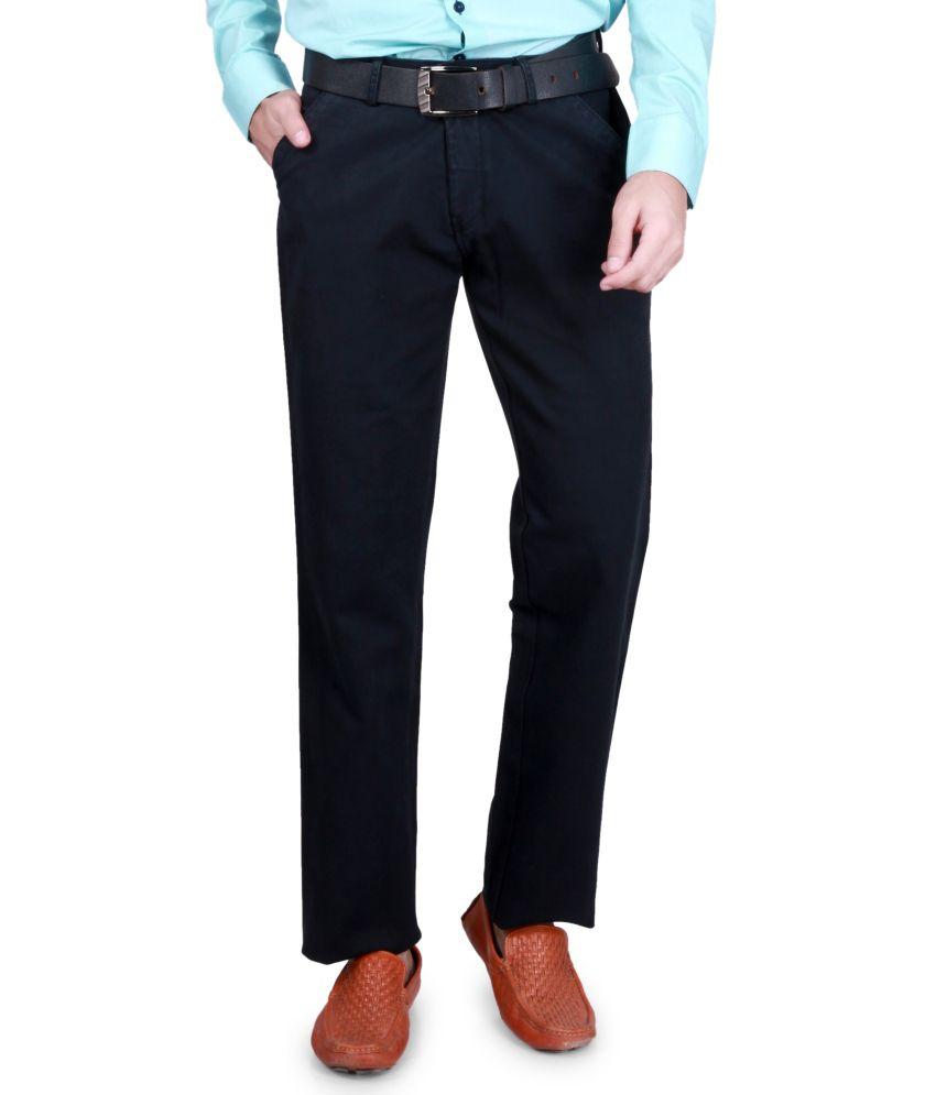 Kivon Black Cotton Casual Trouser