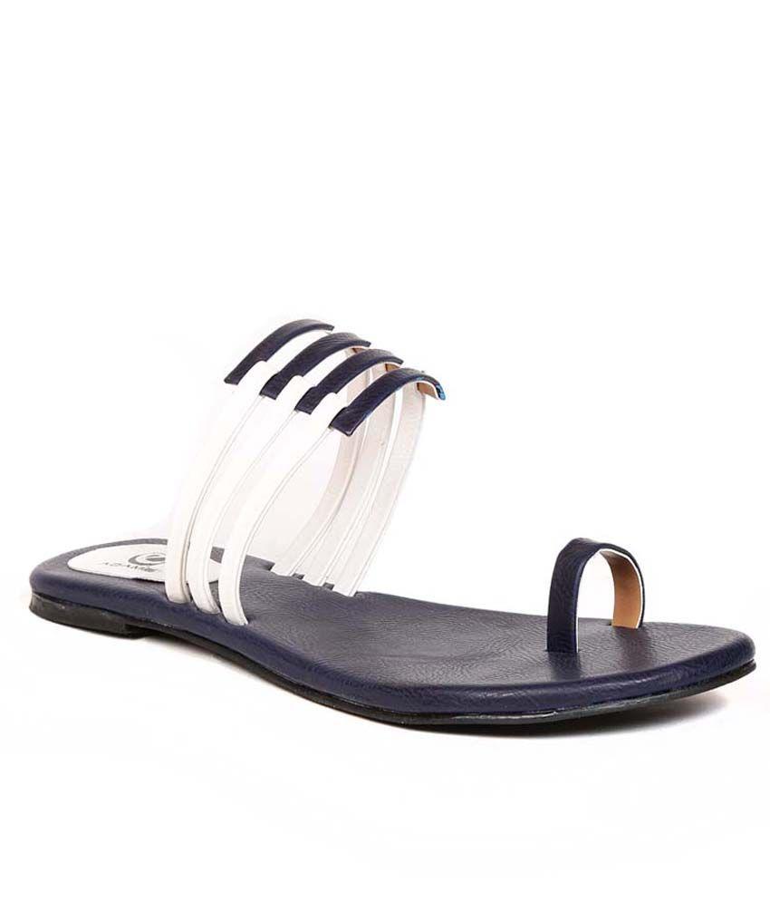 Eadams Blue Flat Net Slippers