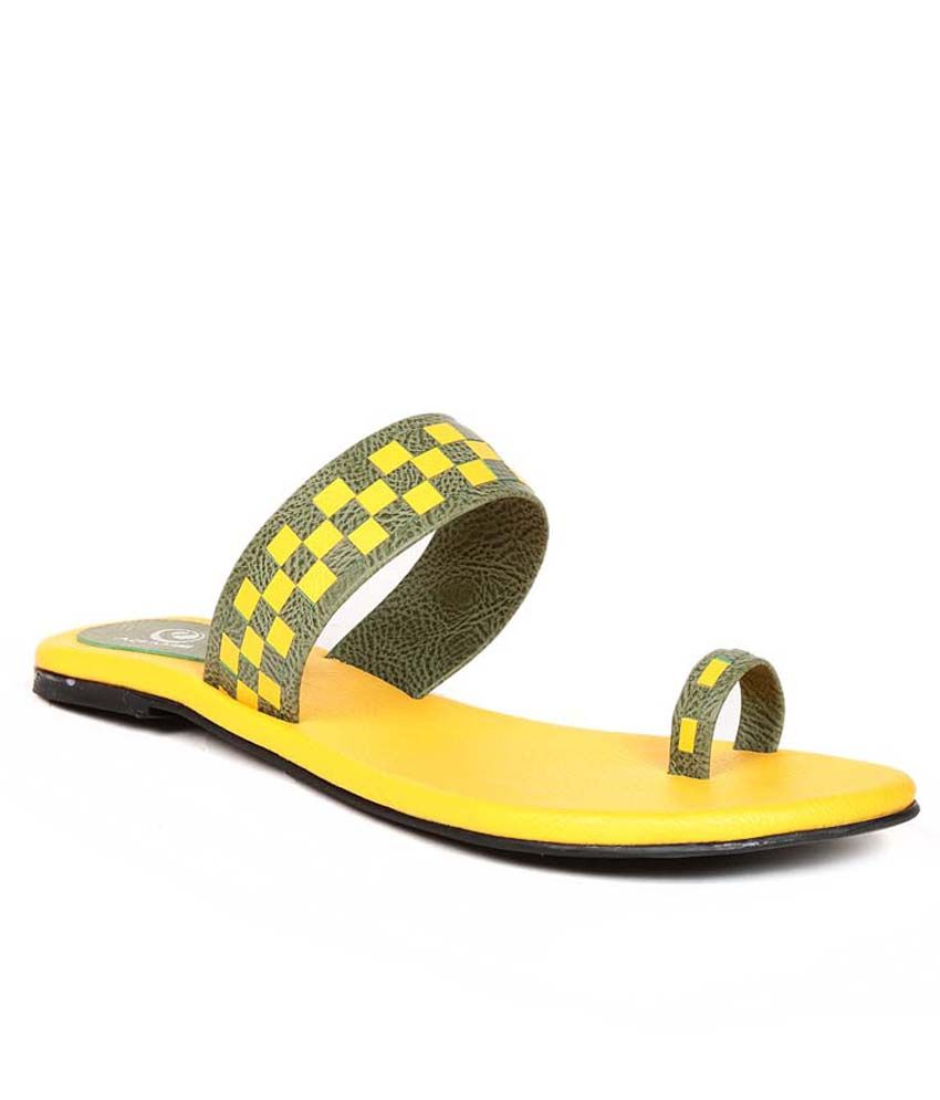 Eadams Yellow Flat Net Slippers