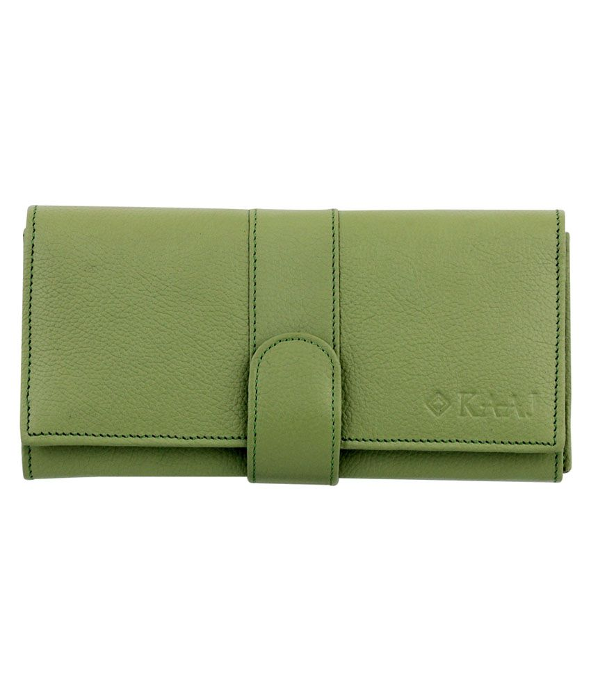 Kaaj Green Premium Genuine Leather Long Wallet