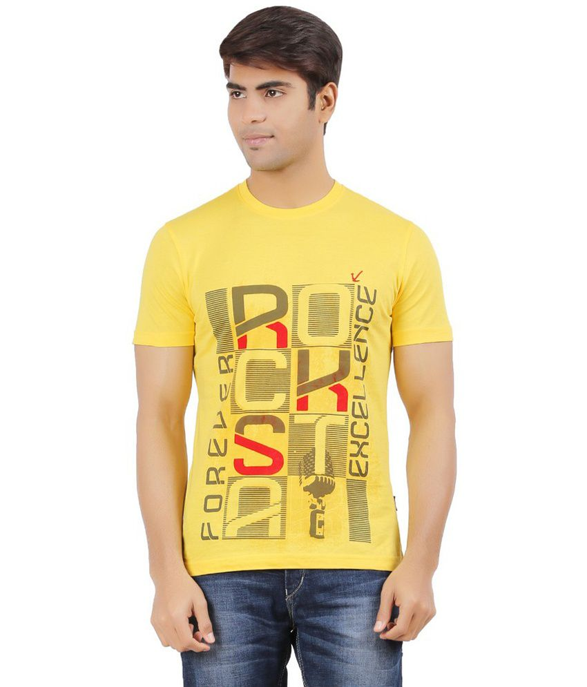 Mr.tee Yellow Cotton Round Neck