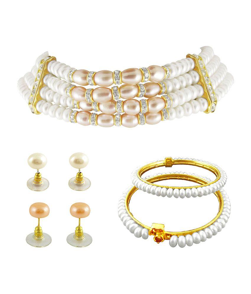 73abab2a179f6 Sri Jagdamba Pearls Choker Pearl Necklace Set With Bangles