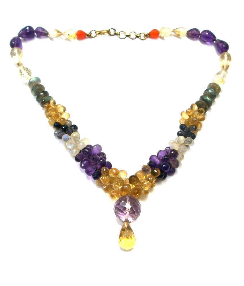 Valentines Jewelry Drop Shaped Faceted Natural Multi Gemstone Necklace 15