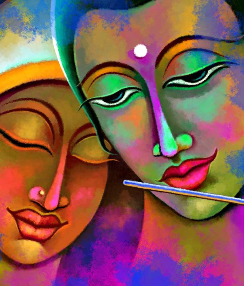 Art factory radha krishna canvas painting religious for How paint on canvas