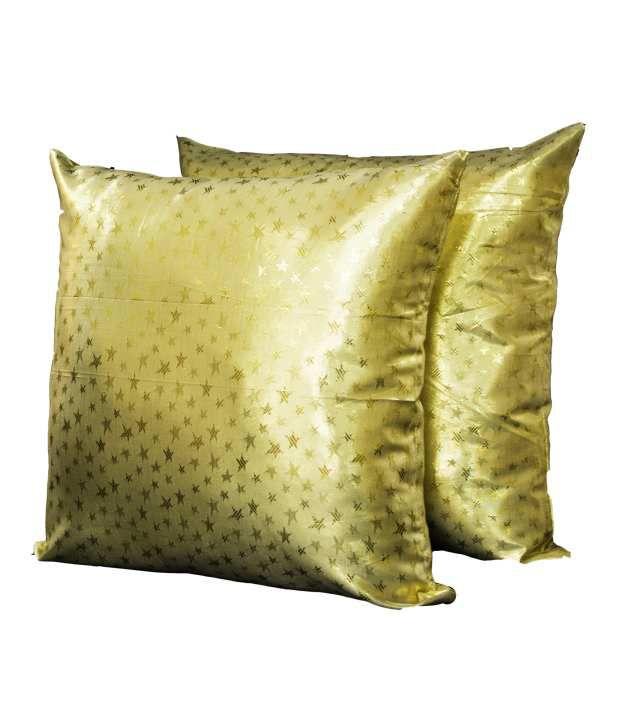 Encasa Home Taffeta Star Design Cushion Covers - Set Of 2