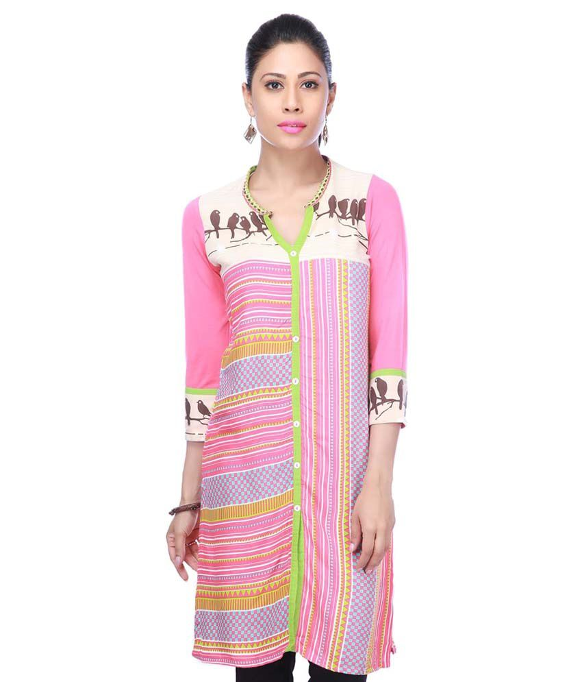 Haute Curry By Shoppers Stop By Shoppers Stop Women Cotton Printed Kurta (pink)
