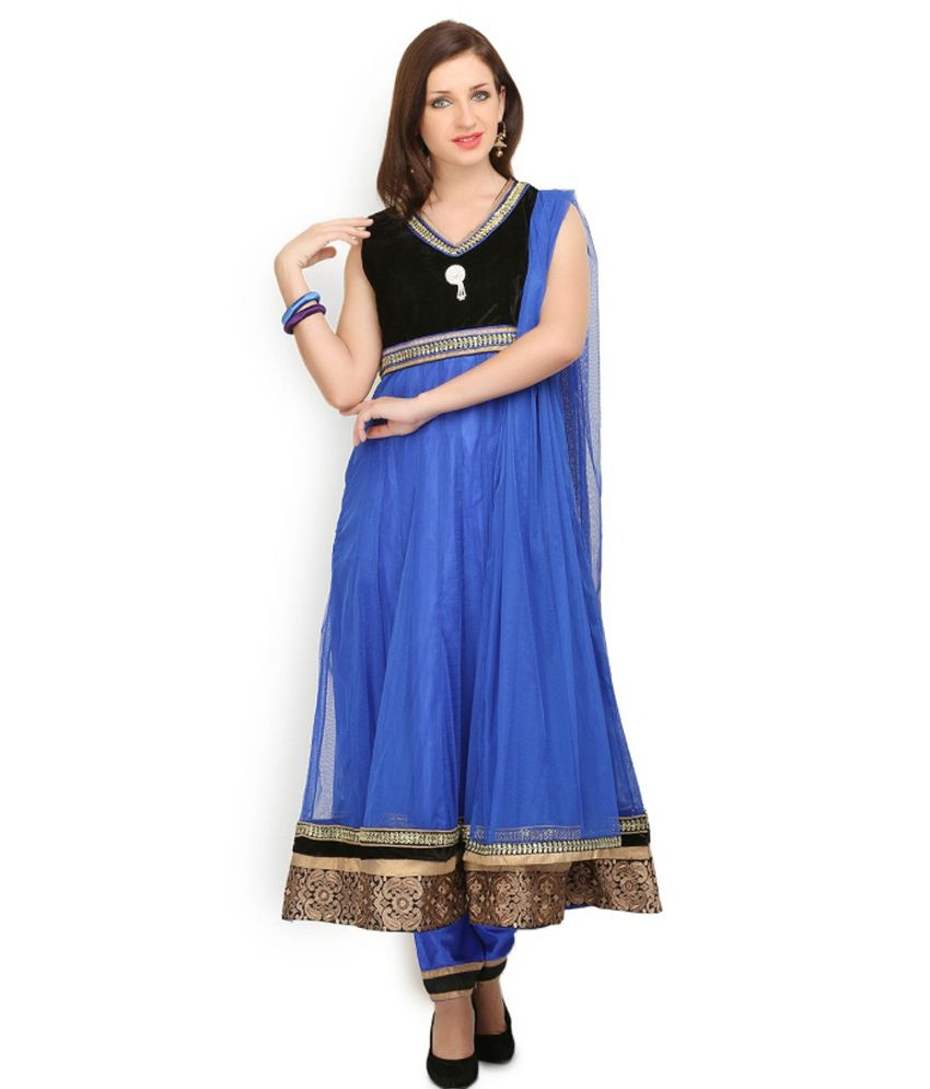 Huur Blue Net Embroidered Salwar Suits