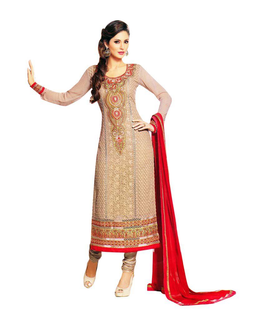 Ladyline beige wedding georgette embroidered dress for Wedding dress material online
