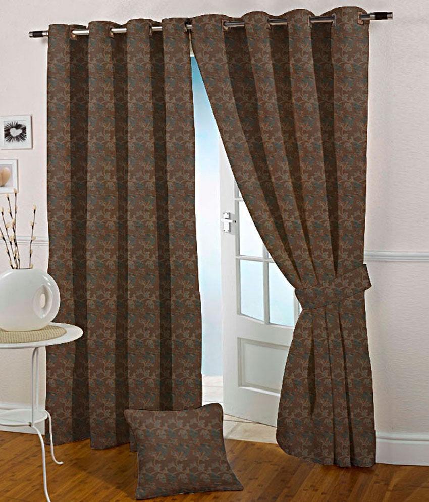 Presto Set of 2 Door Eyelet Curtains Floral Brown