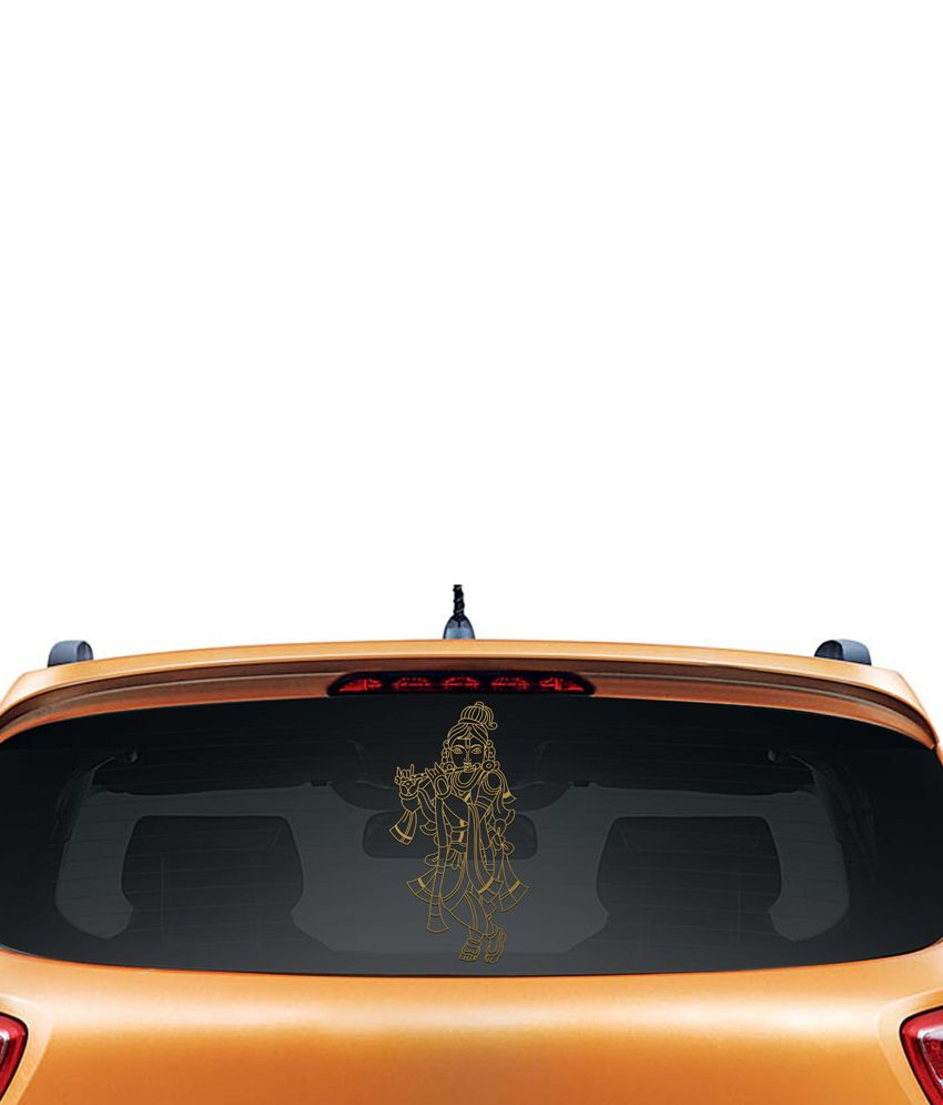 Walldesign Elegant Krishna Car Sticker - Gold