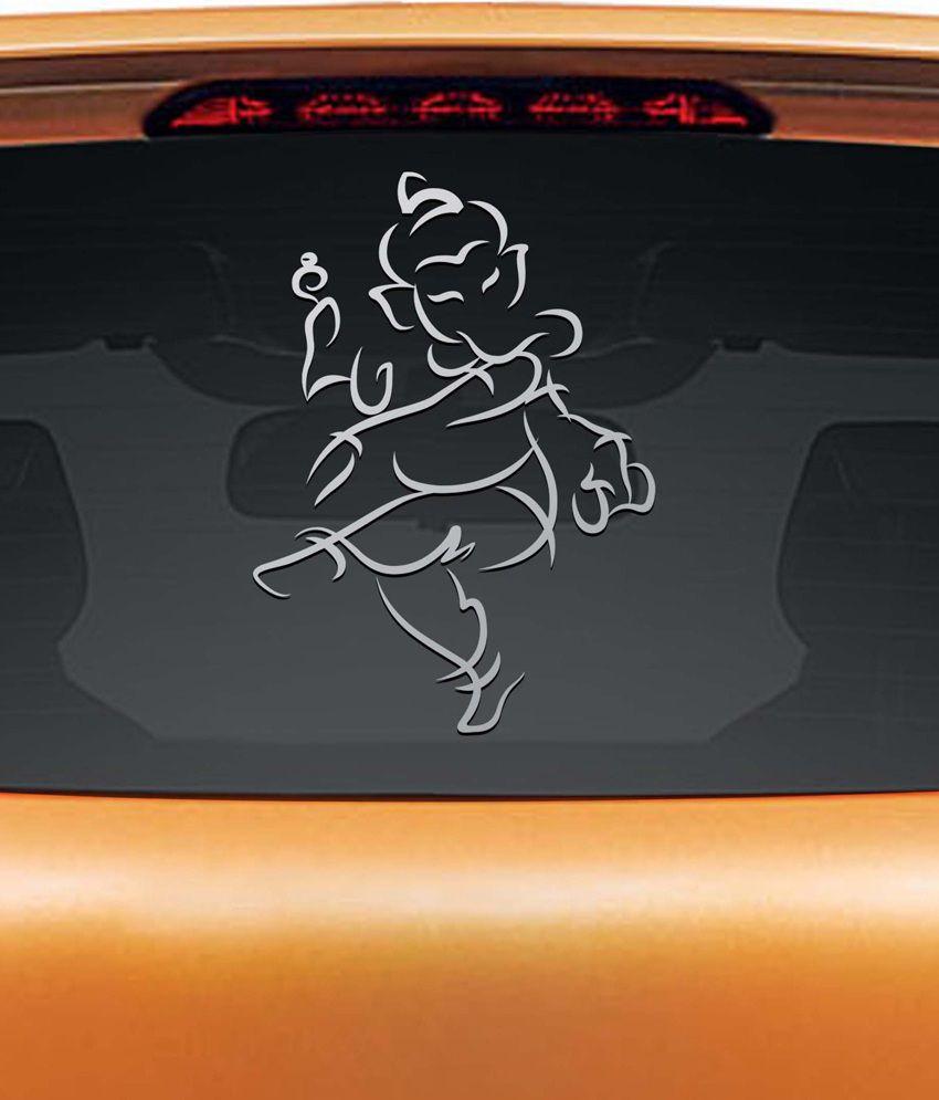 Walldesign Jai Ganesha Car Sticker - Silver