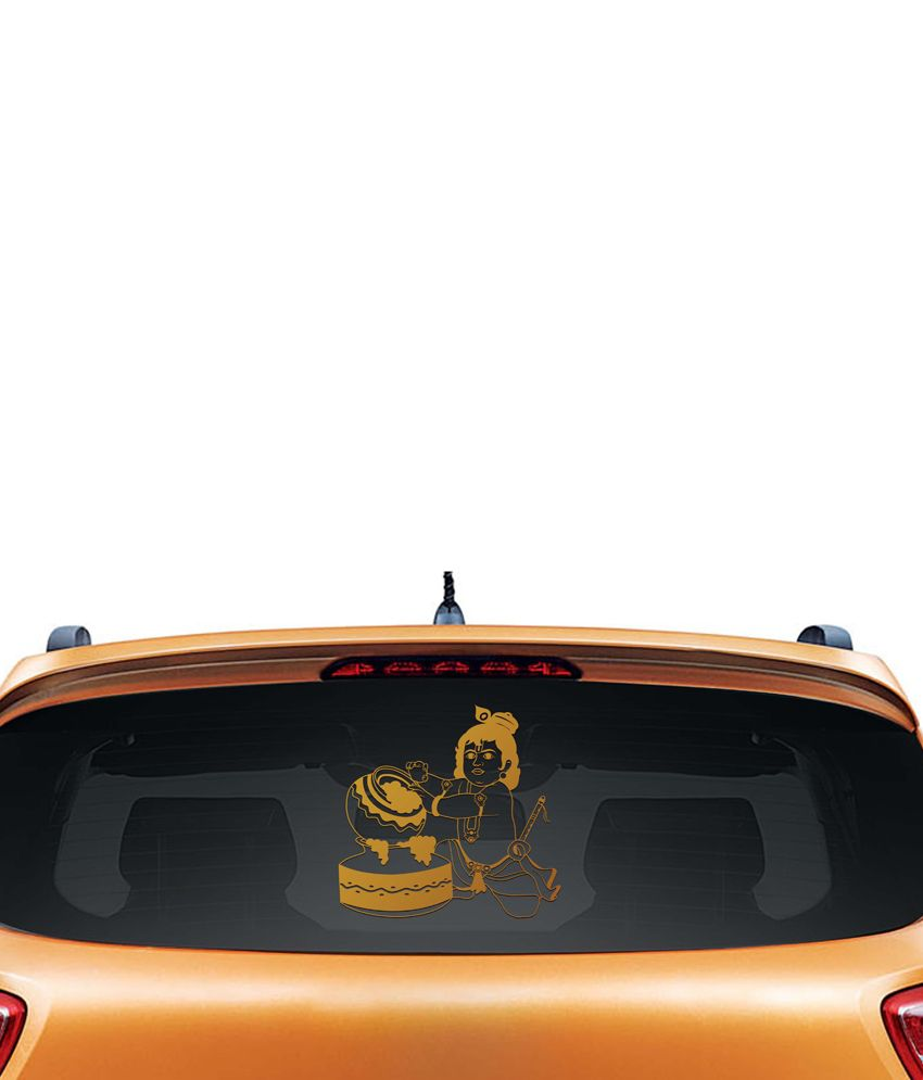 Walldesign Little Krishna Car Sticker - Copper