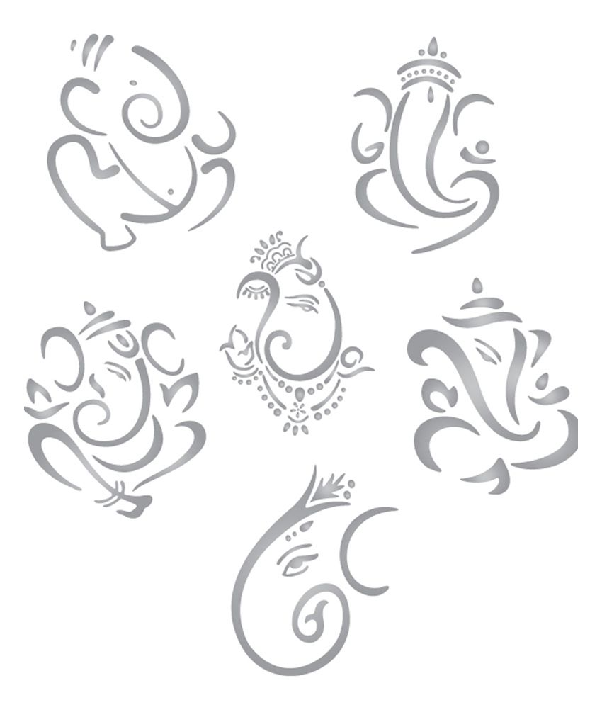 Design a bike sticker - Walldesign Mini Ganesha Set Of 6 Bike Sticker Silver