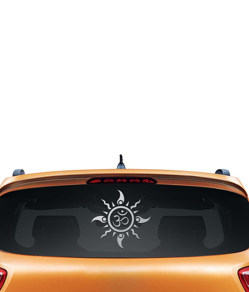 Car sticker design in india - Walldesign Om Sun Tattoo Car Sticker Silver
