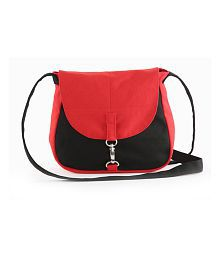 Vivinkaa Red Canvas Cloth Trendy Sling Bag