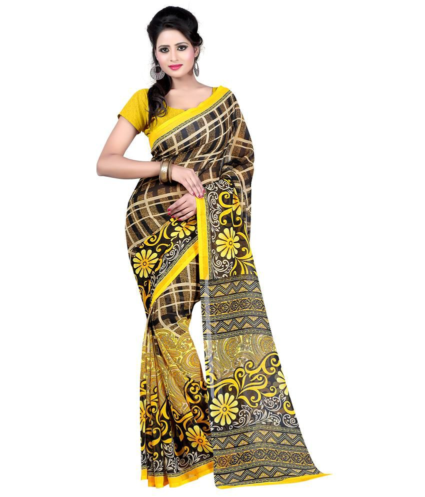 Bunny Sarees Yellow Faux Georgette Saree