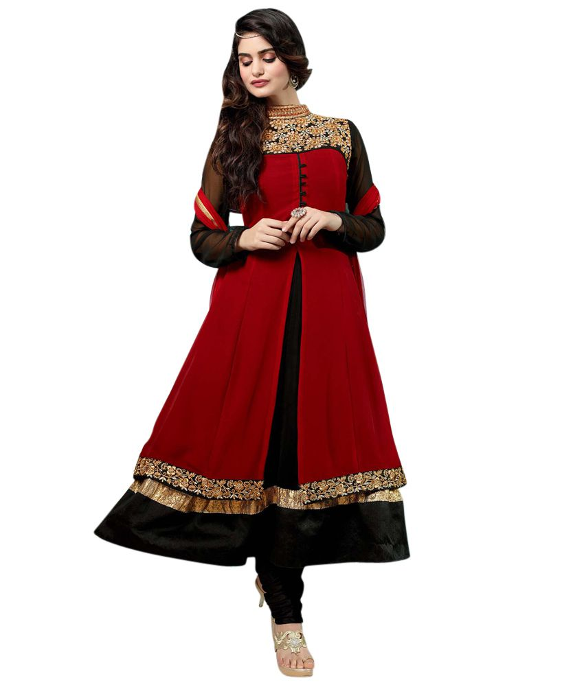 V&t Fashion Red And Black Embroidered Georgette Anarkali Unstitched Dress Material With Dupatta