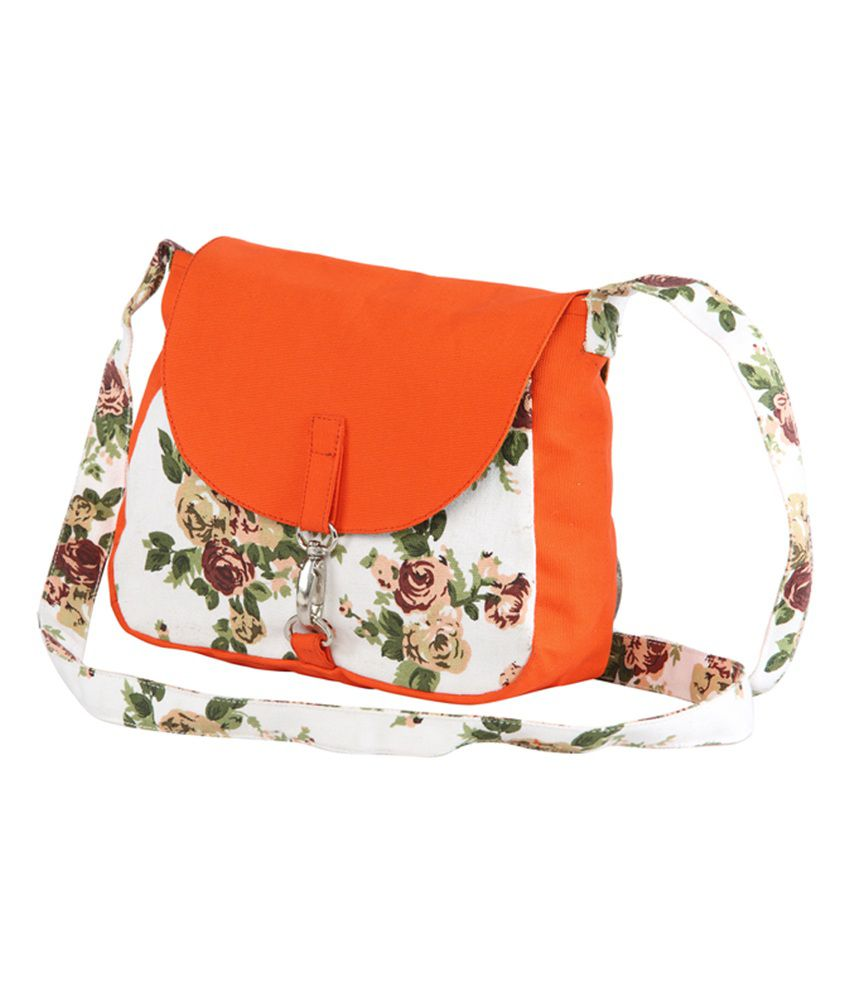 Vivinkaa Orange Canvas Sling Bag - Buy Vivinkaa Orange Canvas ...