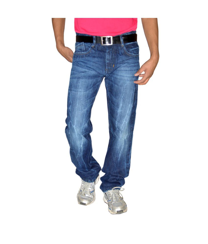 Focker Random Blue Narrow Fit Fabric Five Pocket Jeans
