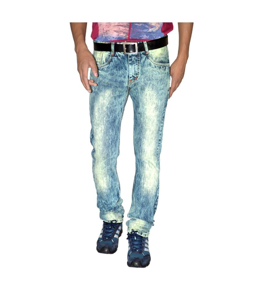 Focker Rugged Ice-gloomy Blue Narrow Fit Fabric Five Pocket Jeans