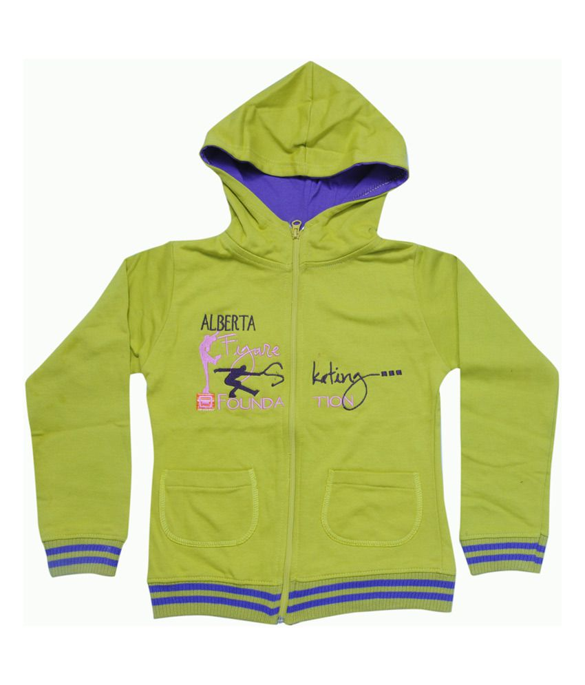 Mintees Green Cotton Patch Work Skating Foundation Hooded Sweatshirt