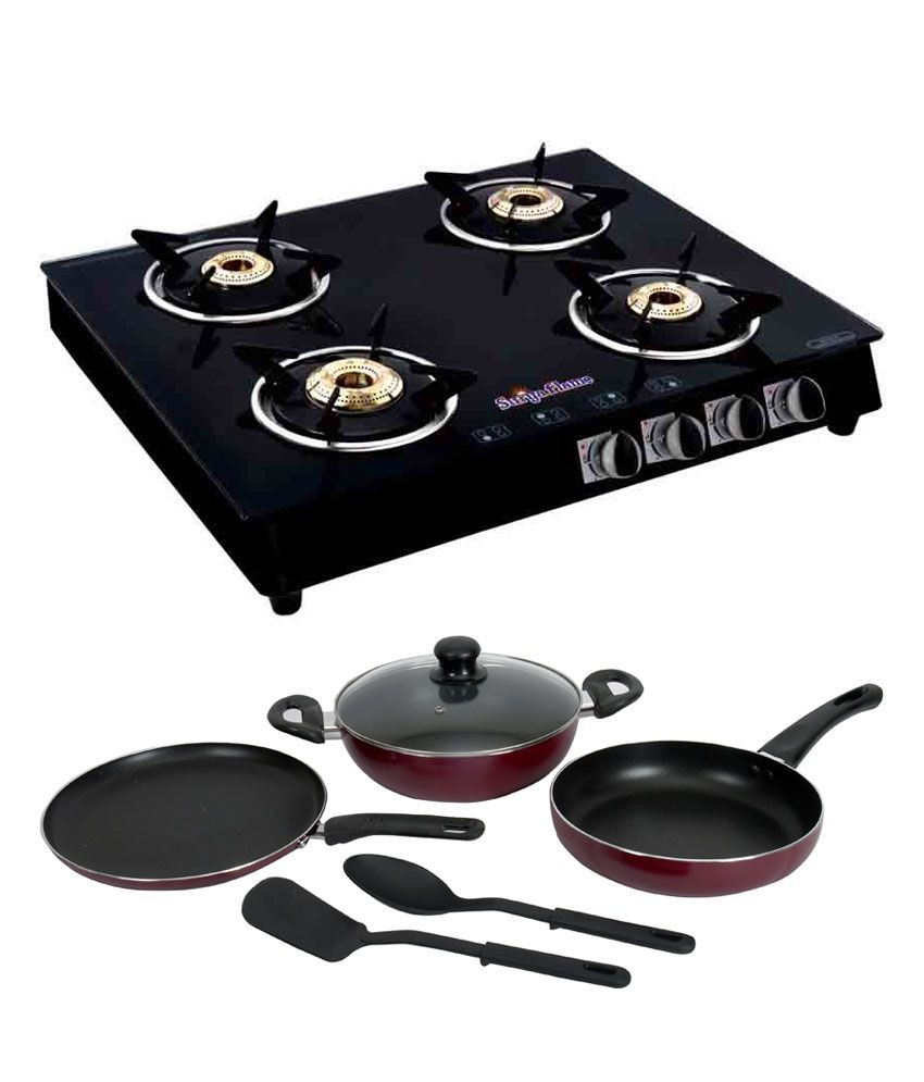 Non Stick Kitchen Appliances Suryaflame 4 Burner Italino Black Ms With Non Stick Cookware Set