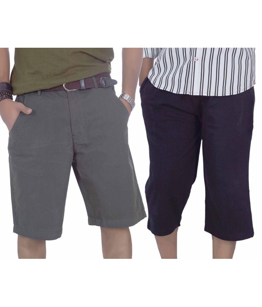 True Fashion Multi Cotton Solids 3/4ths For Men