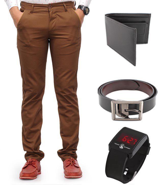 Keepsake Brown Chinos , Watch , Belt , Wallet Combo