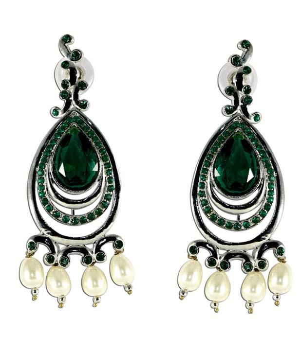 The Fine World Long Danglers Made Using Silver Metal Studded With Green Stones, With A Touch Of Traditional Design