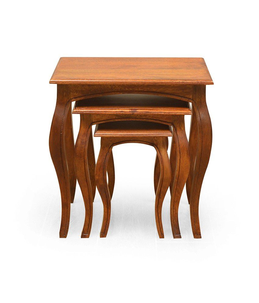 @home By Nilkamal Acacia Finish End & Side Tables In