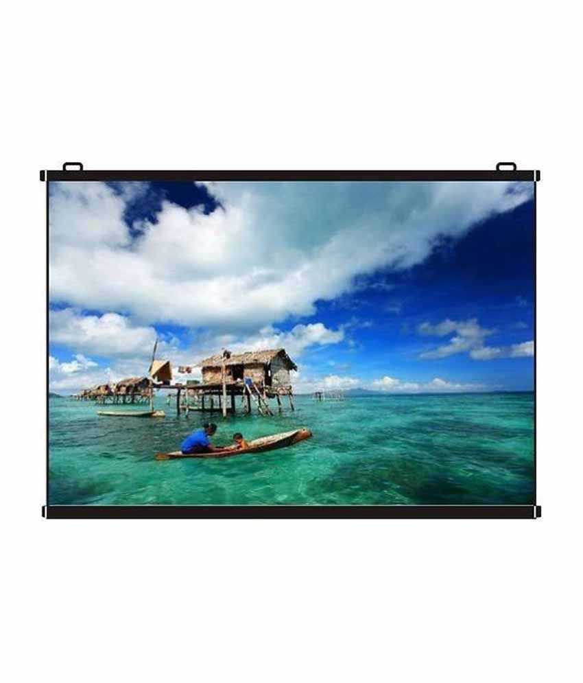 CineView Map Type Projector Screen Size: - 6 Ft  x 4 Ft  In Imported High  Gain Fabric