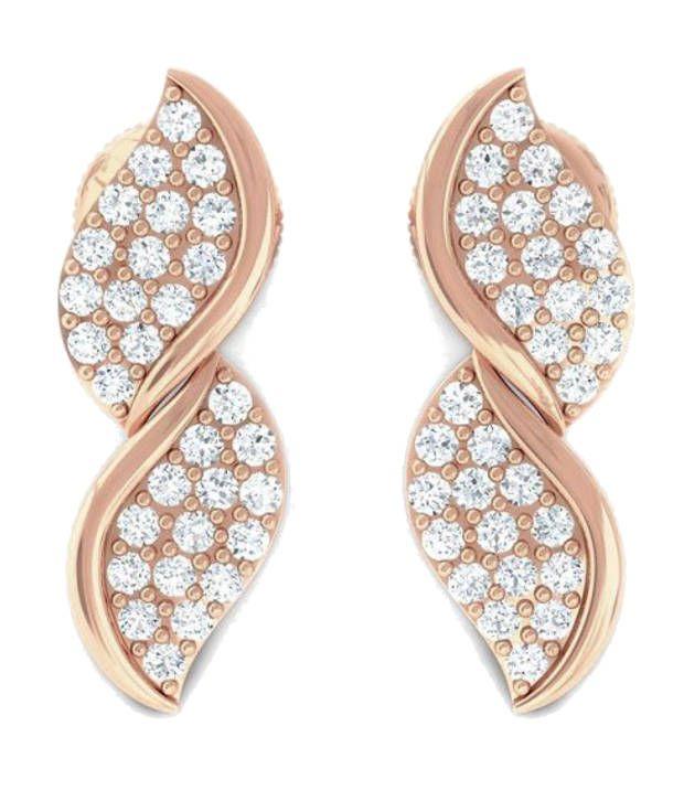 Kreeli 14k Rose Gold Ekani Diamond Earrings With D-f Vs1 Diamond Quality