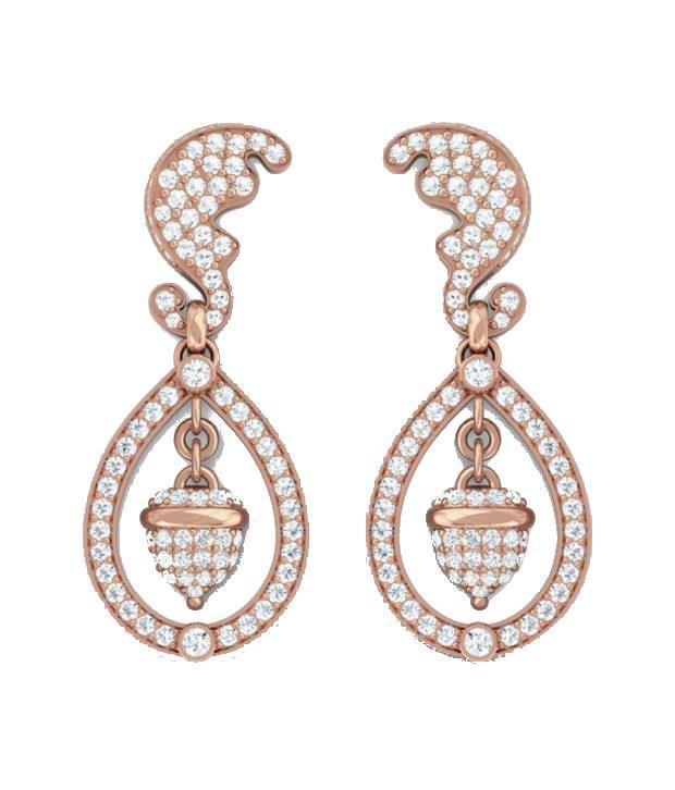 Kreeli 14k Rose Gold Kate Diamond Earrings With D-f Vvs1 Diamond Quality