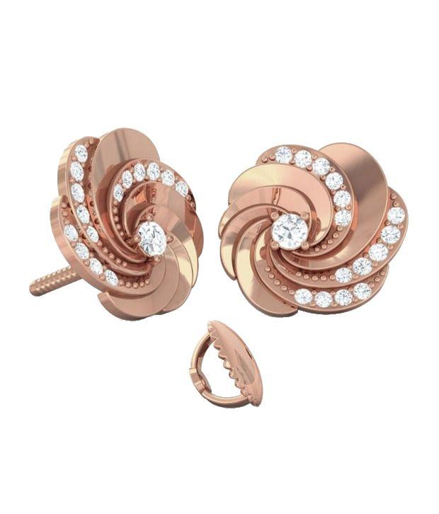 Kreeli 14k Rose Gold Swirl Diamond Earrings With D-f Vvs2 Diamond Quality