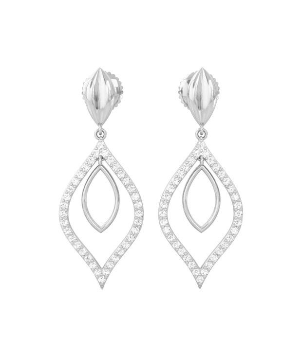 Kreeli 18k White Gold Zara Diamond Earrings With D-f Vs2 Diamond Quality