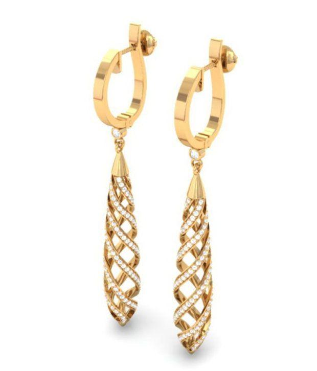 Kreeli 18k Yellow Gold Twirl Diamond Earrings With D-f Vs1 Diamond Quality
