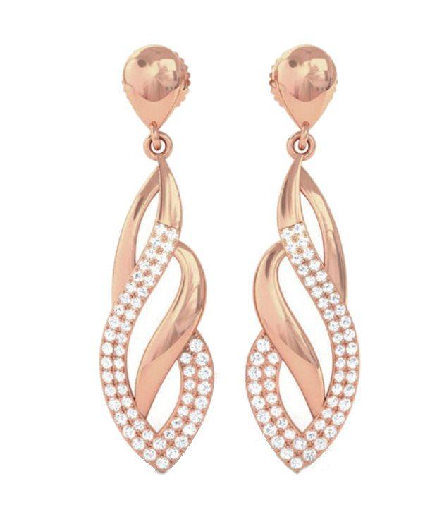 Kreeli 22k Rose Gold Farah Diamond Earrings With D-f Vs2 Diamond Quality