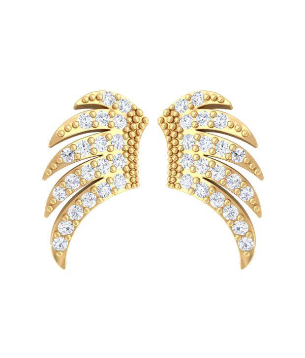 Kreeli 22k Yellow Gold Wings Diamond Earrings With D-f Vs1 Diamond Quality