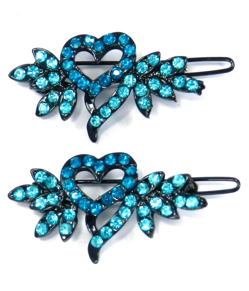 Spm Set Of 2 Beautiful Stone Studded Hair Clips