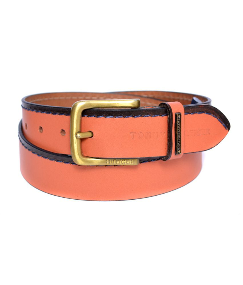 Tommy Hilfiger Orange Leather Pin Buckle Formal Belt For Men