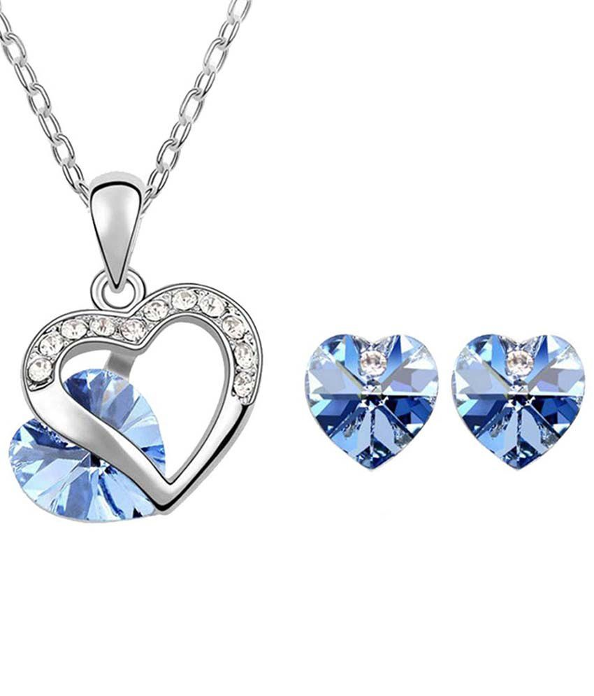 Kaizer Economica Vibrant Blue Heart 18kt White Gold Plated Pendant Set With Chain