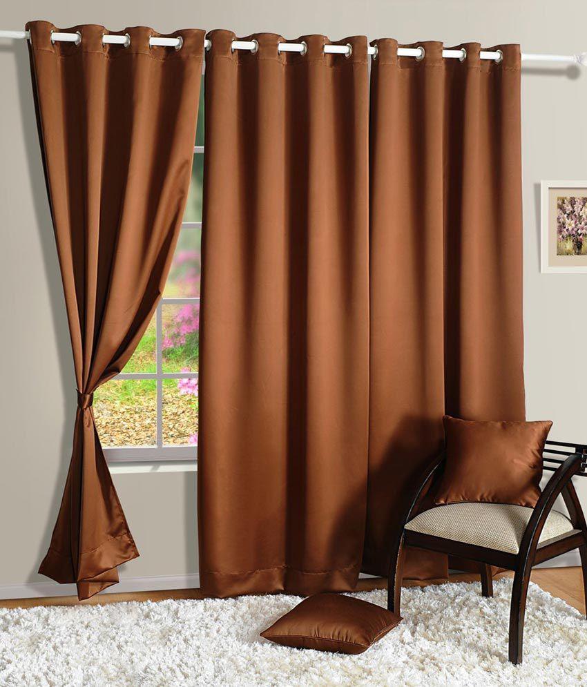 homec single long door blackout curtain solid black brown buy rh snapdeal com