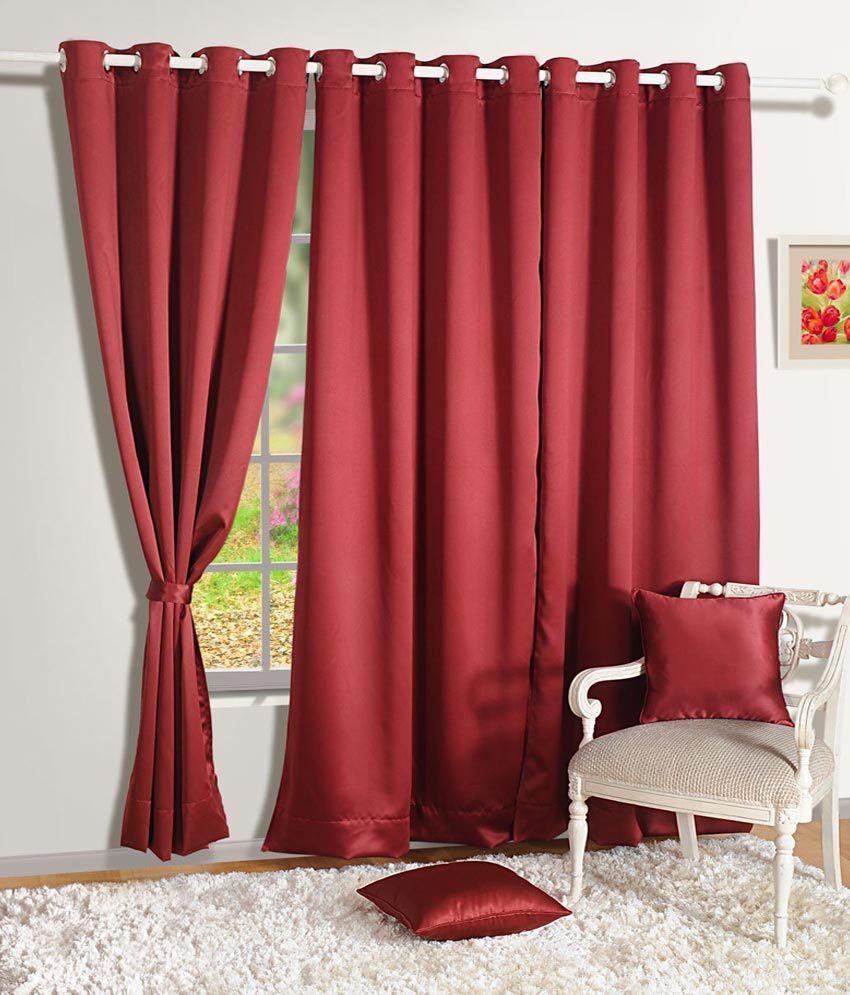 HOMEC Single Door Blackout Curtain Solid Black&Red