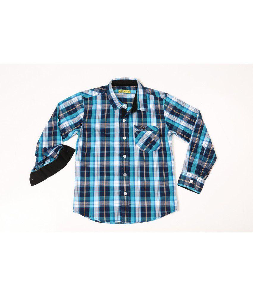 Gini & Jony Full Sleeves Disco Blue Baby Shirt For Kids