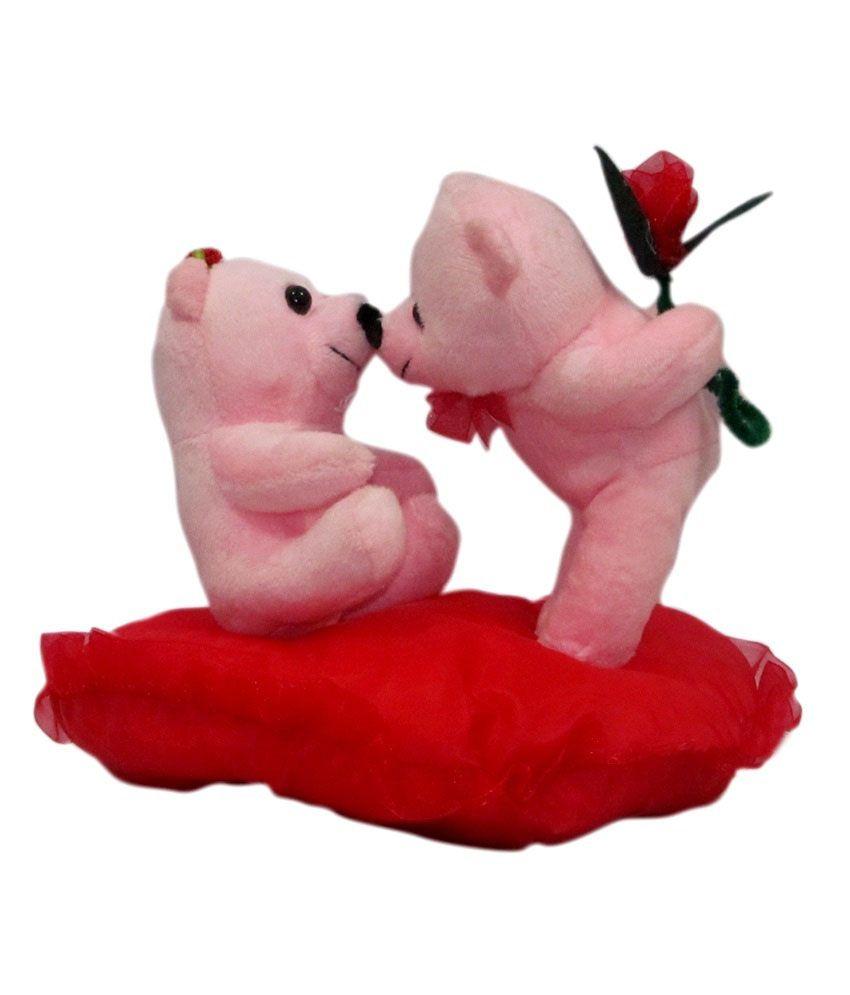 Pi World Pink Kissing Teddy Couple- 20 Cm