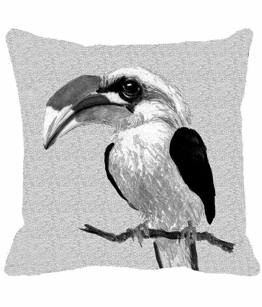 Leaf Designe Black And White Bird On Branch Cushion Cover