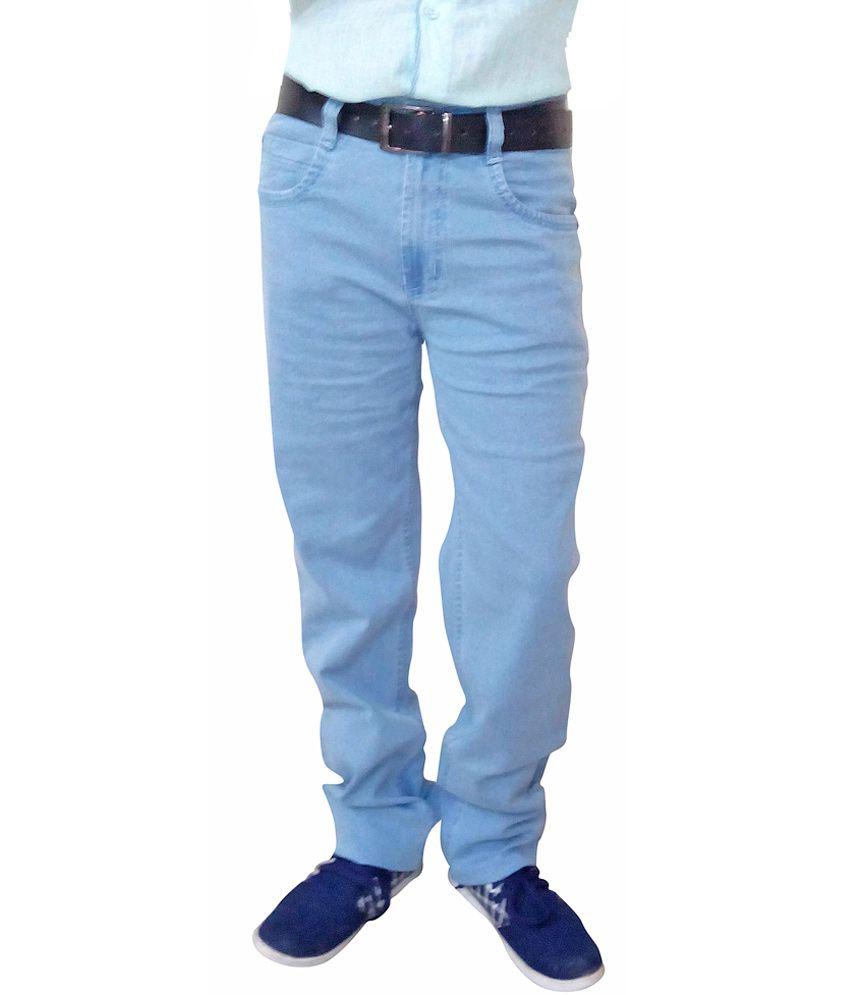 Allowed Apparels Light Blue Cotton Regular Jeans