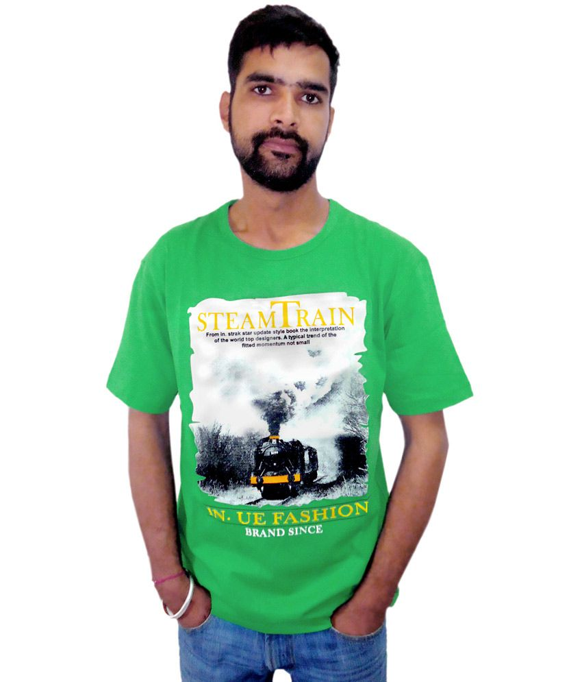 Go Getter Green Printed Cotton Round Neck T-shirt For Men