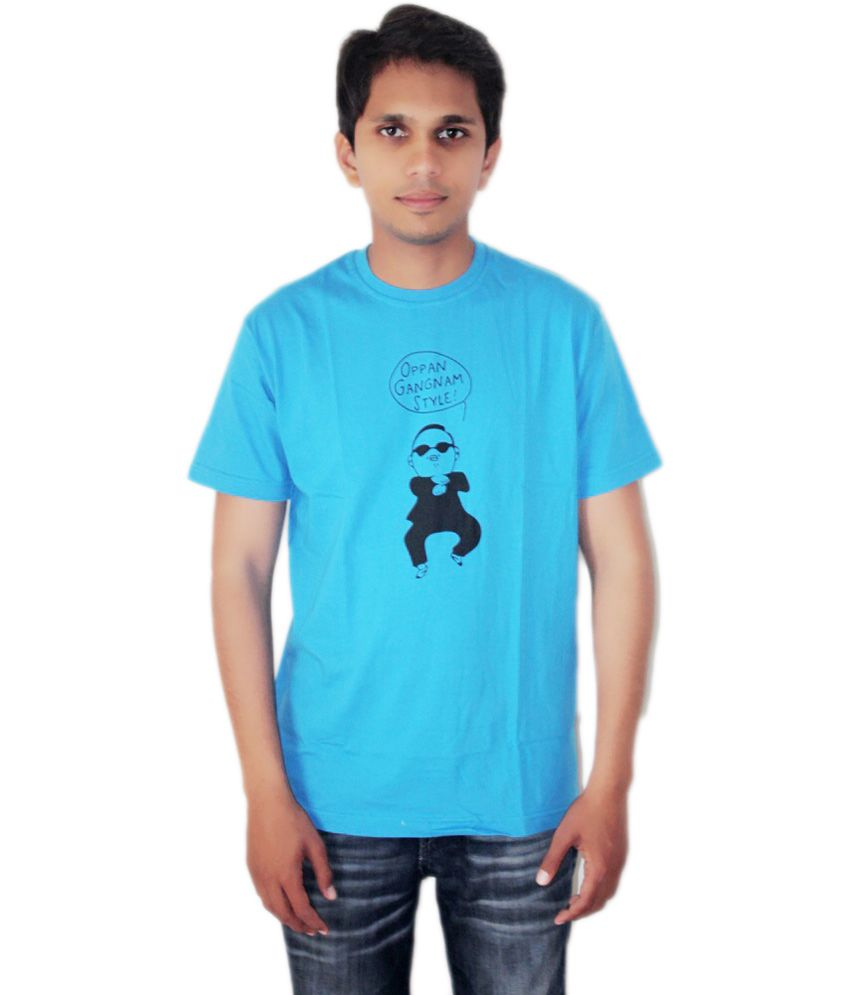 K Cube Blue Cotton Round Neck Half Sleeve T Shirt