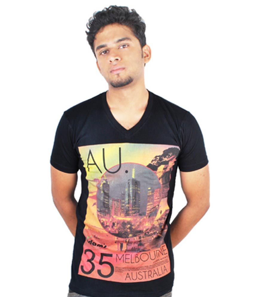 Adam's Multicolor Cotton Printed V-neck Half Sleeves Melbourne Black